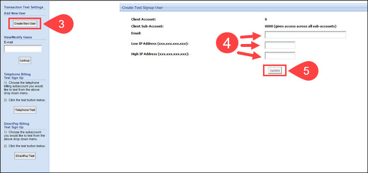 Steps to create a test transaction user in the CCBill Admin.
