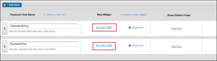 Open FlexForm Web Widget in CCBill Admin.