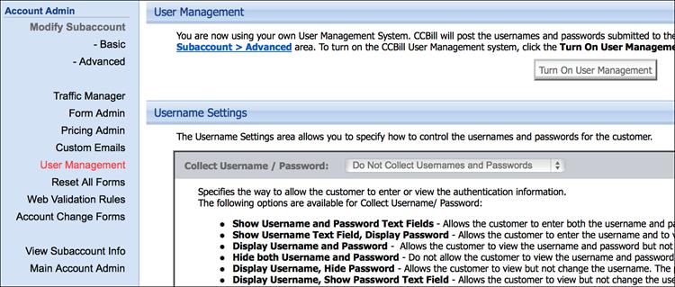 Disabling CCBill user management.