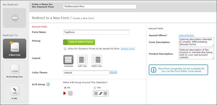 FlexForms payment form.