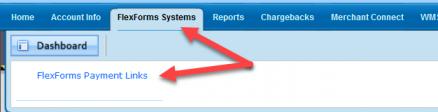 Admin FlexForms Payment links menu