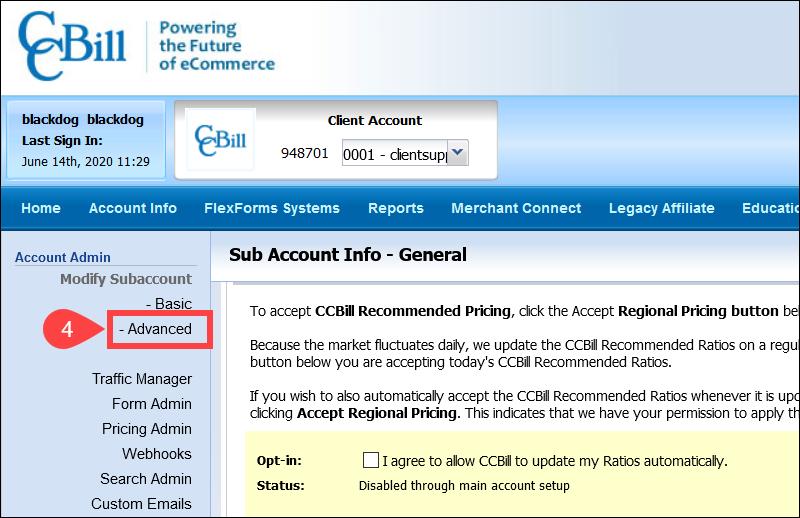 CCBill Admin Subaccount Menu Advanced