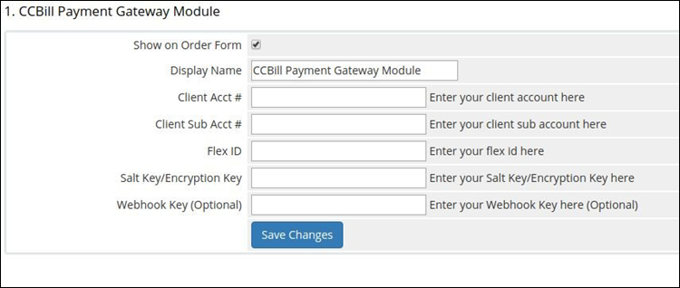 The CCBill payment module menu in WHMCS.
