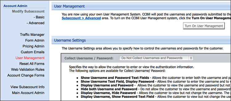 Disabling User Management in CCBill's Admin.