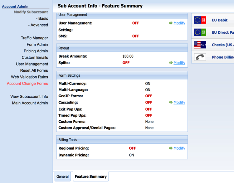 Enabling Dynamic Pricing in the CCBill Admin.