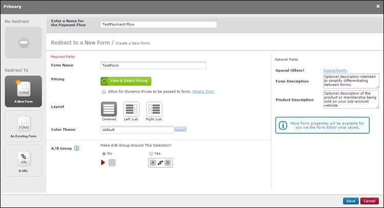 The main FlexForm menu.