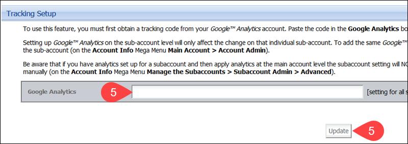 Enter Google Analytics Tracking ID CCBill Subaccount