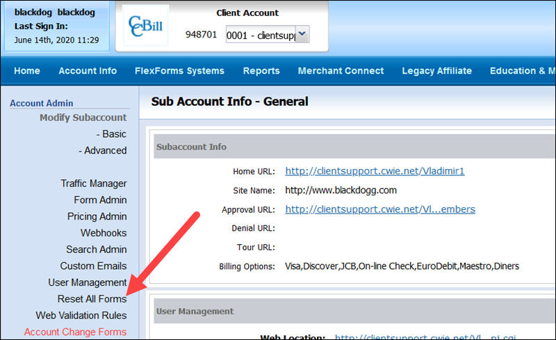 Reset All Forms Sub Account Admin CCBill