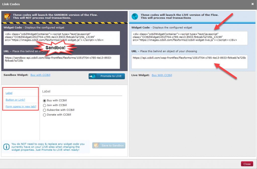 Web Widgets screen in the Admin portal