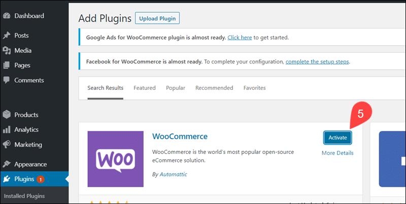 Activate the WooCommerce plugin.