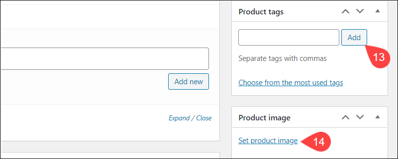Add tags and images for products in WooCommerce.