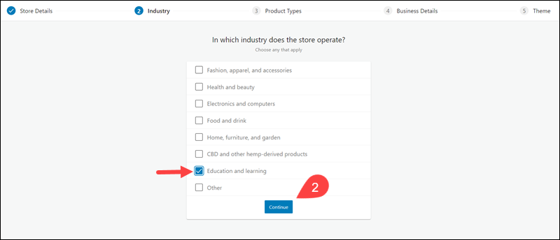 Define the industry your store predominantly operates in.