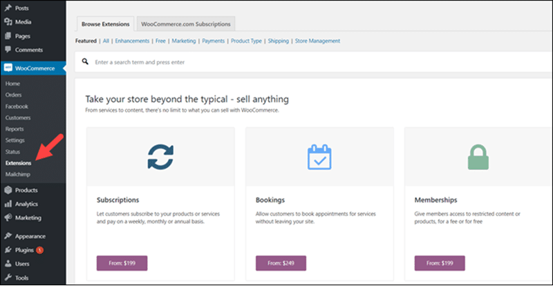 The WooCommerce extentions menu.