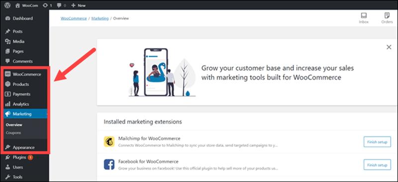 WooCommerce menus in the WordPress panel.