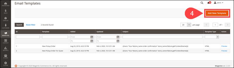 Option that allows you to create a new email template in Magento.