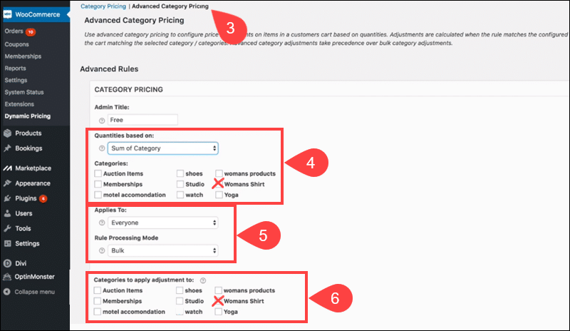 Configure Advaced Category Pricing in Dynamic Pricing plugin.