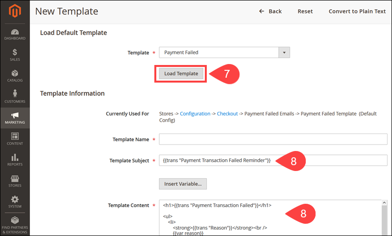 Load default Payment Failed Template in Magento.