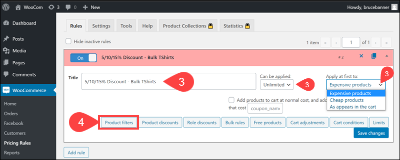 Add title and product filter in the Advanced Dynamic Pricing plugin.
