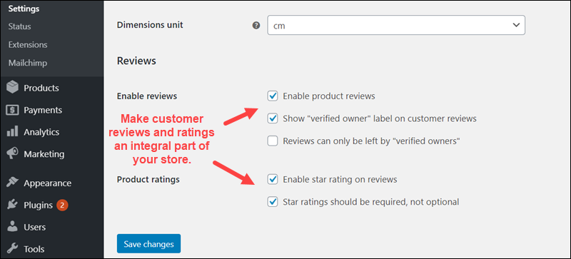 Enable customer reviews and product ratings in WooCommerce.