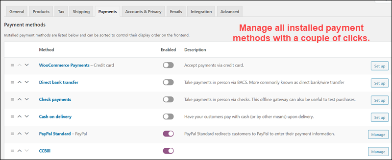 Administer the payment options available in your store.