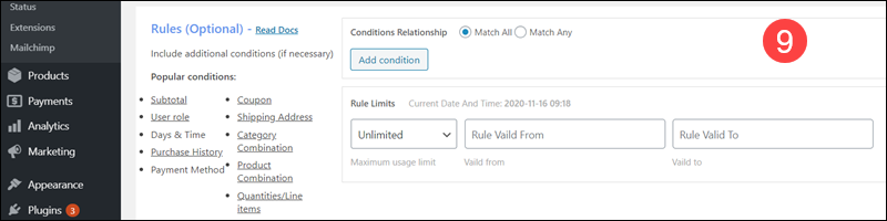 List of optional discount rules in Discount Rules plugin.