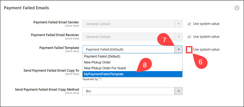 Select the custom Payment Failed Email Template.