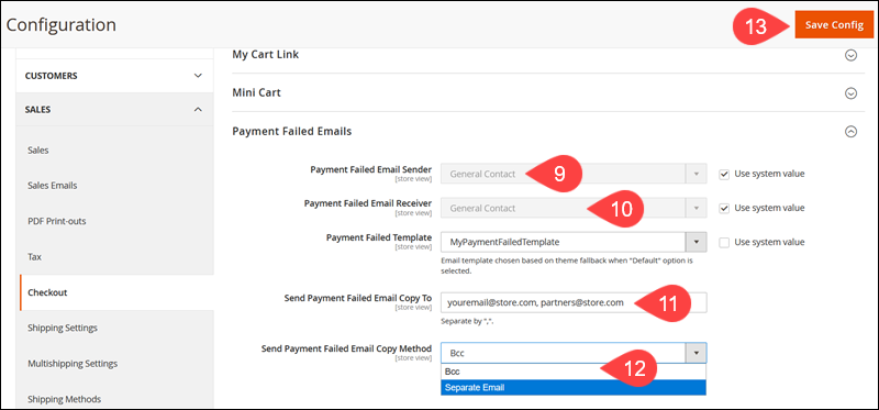 Define the rules for sending Payment Failed Emails in Magento.
