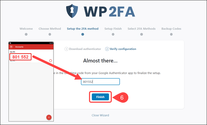 Enter the authentication code from LastPass to WP 2FA.
