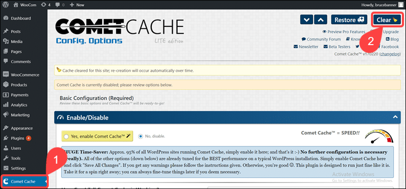 Steps to clear cache in WordPress using Comet Cache.