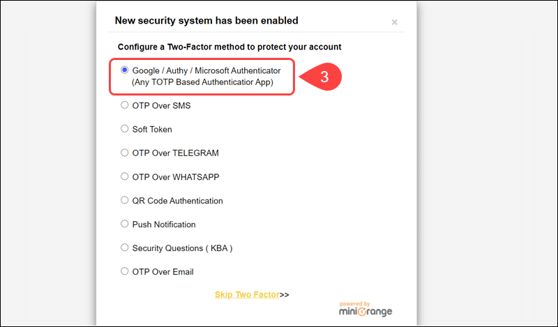 Select the one-time password delivery method for the Google Authenticator plugin.