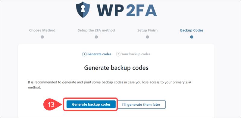 Generate backup codes for WP 2FA.