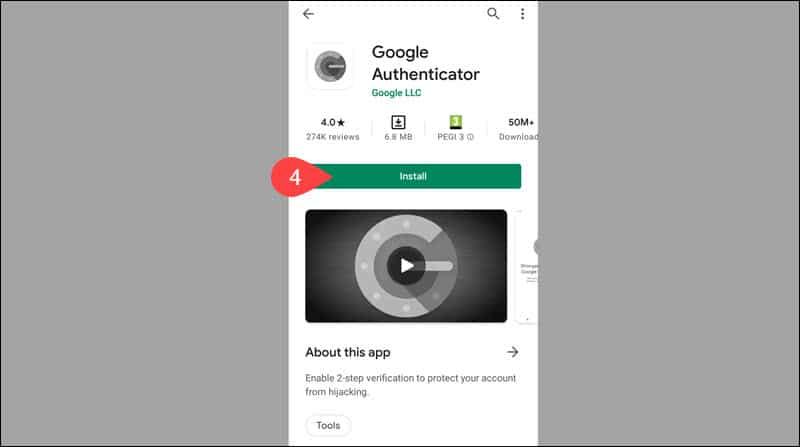 Instal the Google Authenticator mobile app.