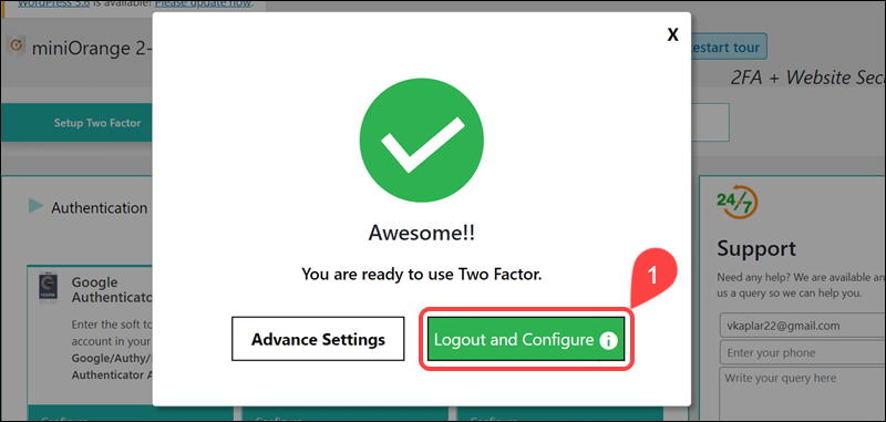 Logout to configure Google Authenticator by miniOrange.