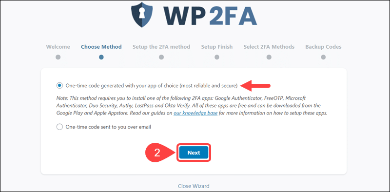 Select authentication method for WP 2FA.