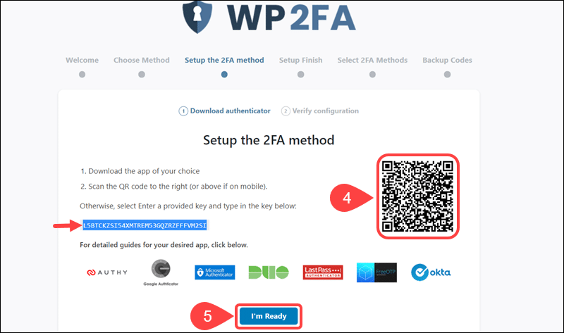 Scan the QR code to link LastPass app with WP 2AF plugin.