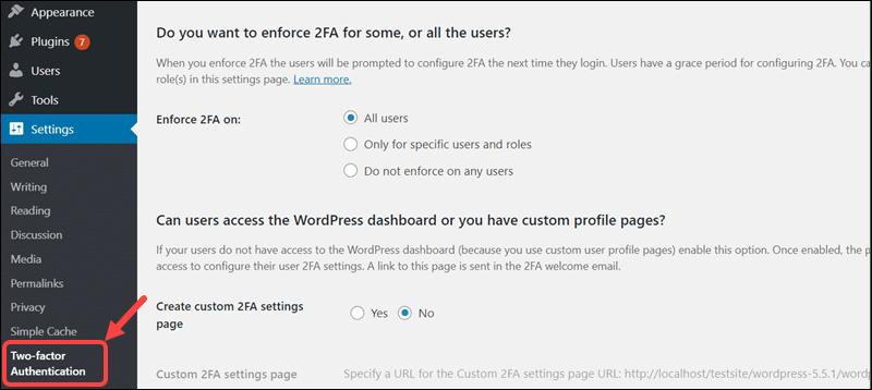 Modifying setting in the WP 2FA plugin in WordPress.