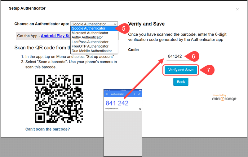Enter verification code to connect Google Authenticator plugin with app.