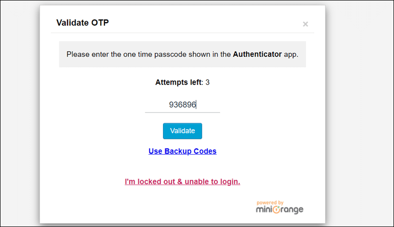 Log in to the WordPress admin by entering verification code from app.
