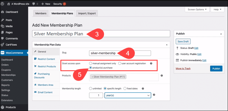 Adding new membership plan rules in WooCommerce