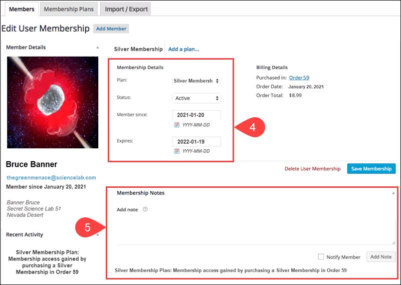 Edit membership details in WooCommerce.