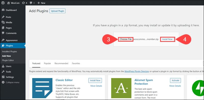 Upload and install WooCommerce Memberships plugin in WordPress
