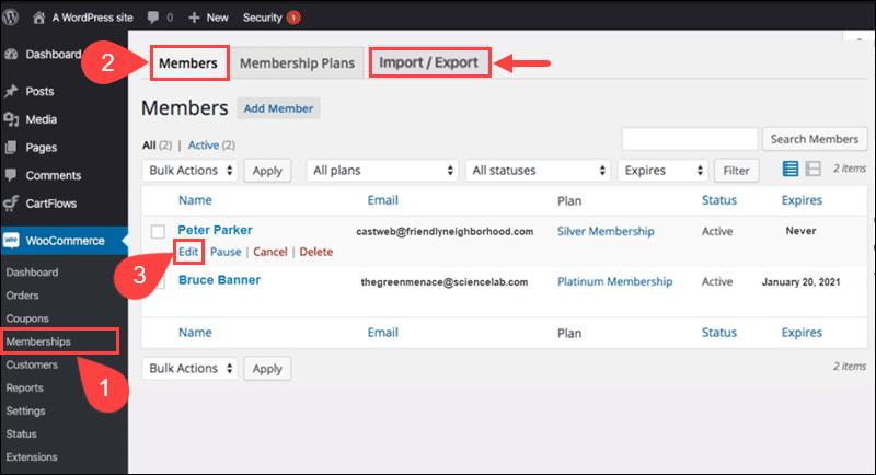 Managing members in the Woocommerce Membership plugin.