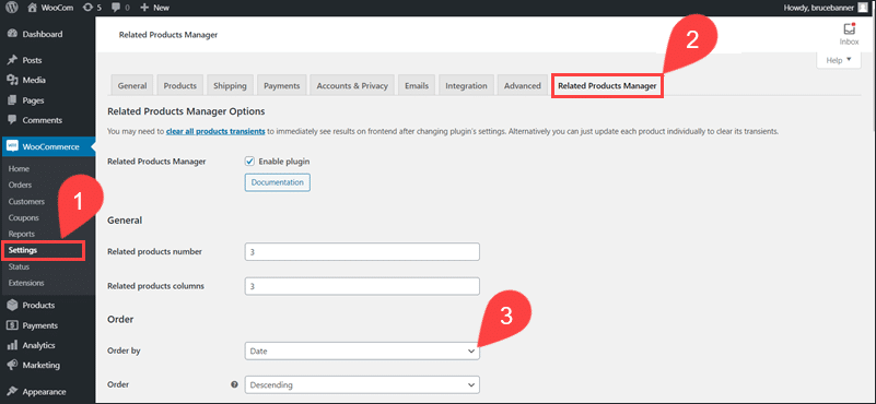 The settings available for the Related Product Manager Plugin.