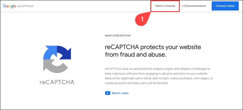 Google reCAPTCHA Admin Console.