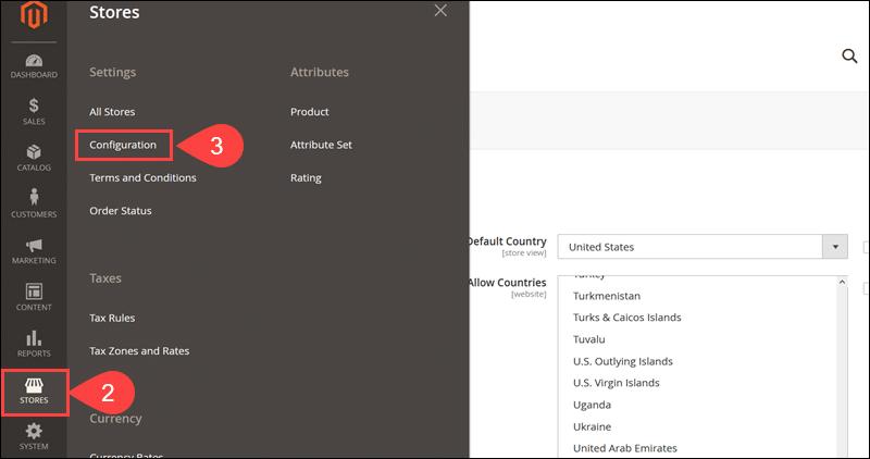 Access Configuration menu in Magento.