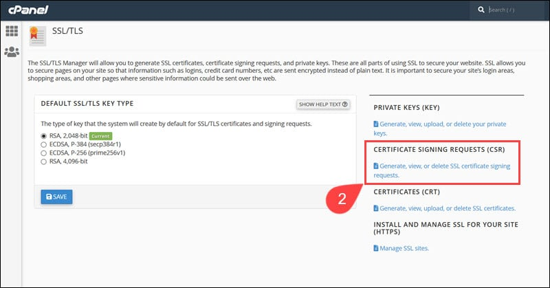 Certificate Signing Request option in cPanel.