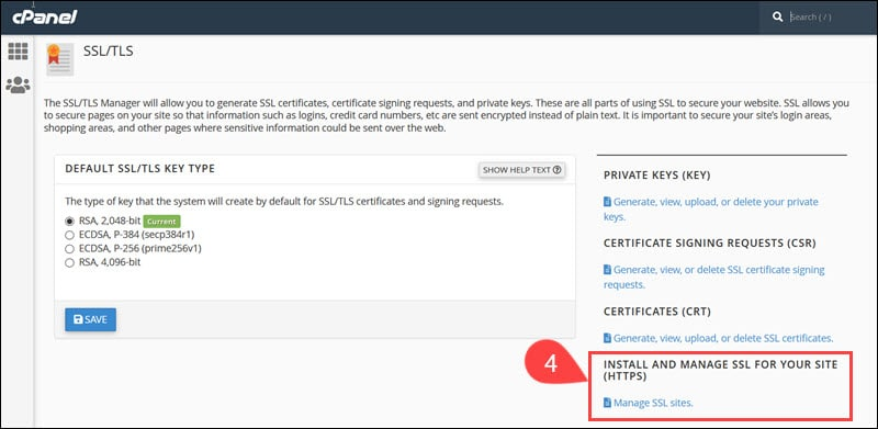 Install SSL certificate using cPanel.