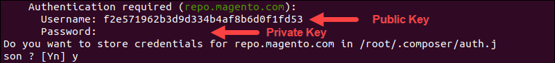 Enter Magento authentication keys to install the Data Migration Tool.