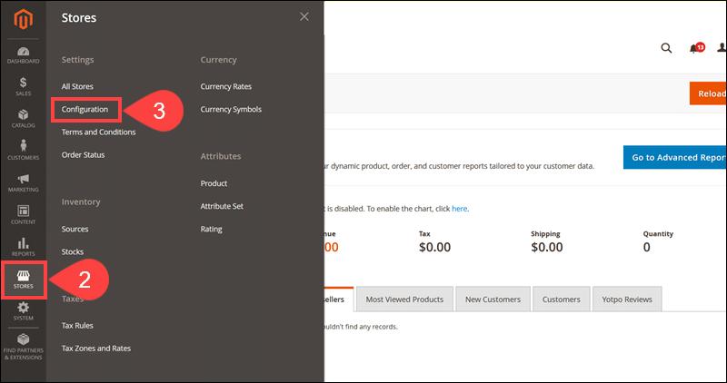 Access Configuration menu in Magento Admin.