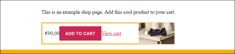 Example of Add to Cart button created using WooCommerce shortcodes.